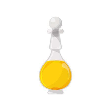 Glass bottle filled with veegetable oil, organic healthy oil product cartoon vector Illustration on a white background Illustration