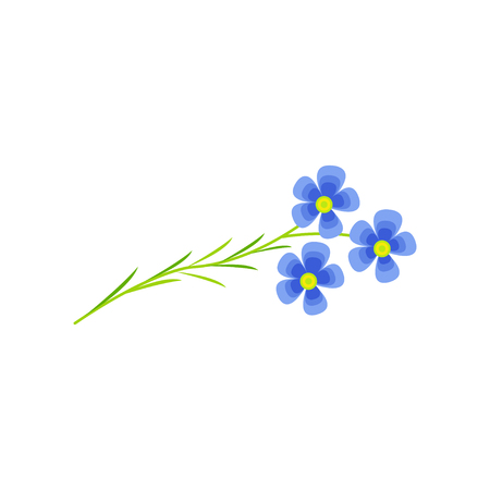 Flax flower cartoon vector Illustration on a white background