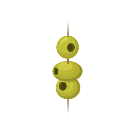 Green pickled olives on a wooden cocktail stick vector Illustration Vectores