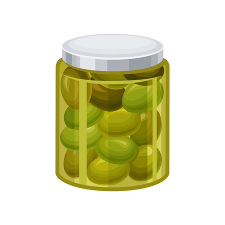 Jar of green olives vector Illustration