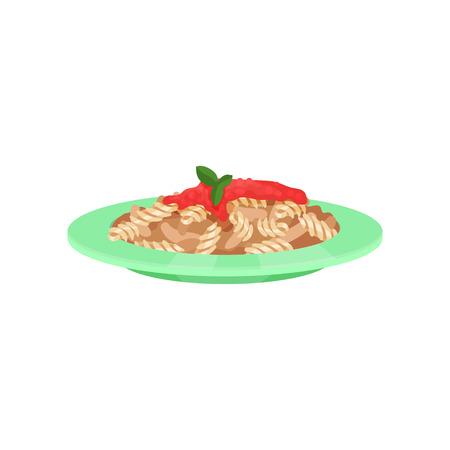 Pasta dish cooked with sauce, Italian cuisine vector Illustration Illustration