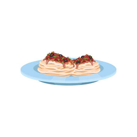 Pasta dish cooked with tomato sauce and olives, Italian cuisine vector Illustration