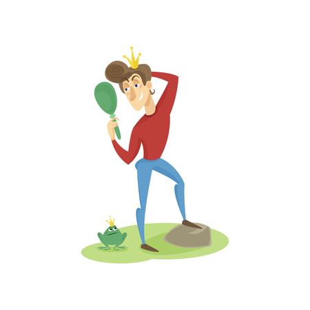 Narcissistic modern prince looking at mirror, funny young man comic character cartoon vector Illustration