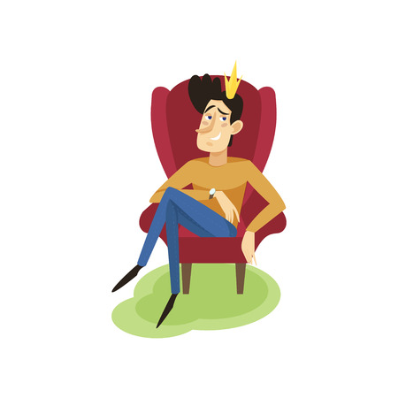 Egotistical modern prince sitting on a throne, funny young man comic character cartoon vector Illustration
