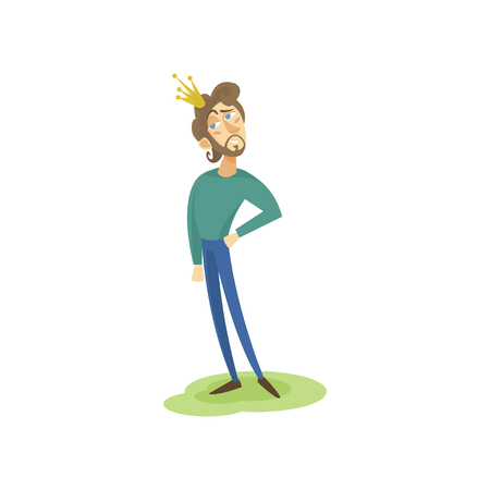 Modern prince in casual clothes and golden crown, funny young man comic character cartoon vector Illustration Illustration