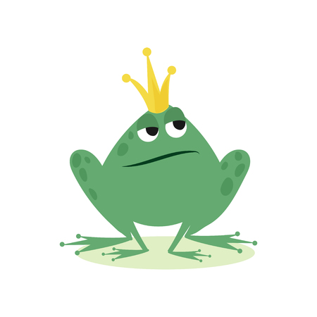 Prince frog in golden crown, fairy tale character cartoon vector Illustration