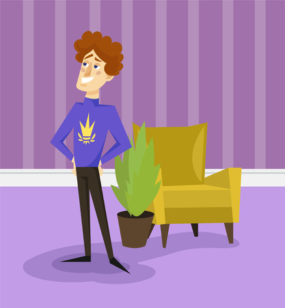 Egotistical modern prince with golden crown on his sweater, funny young man comic character posing on the background of living room apartment colorful vector illustration in cartoon style.