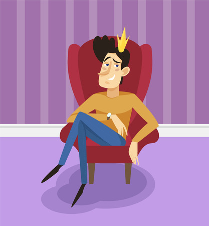 Egotistical modern prince sitting on a throne, funny young man comic character posing on the background of living room apartment vector illustration, cartoon style