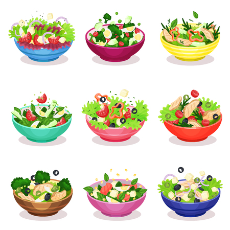 Various salads set, vegetable, fish and meat salad, healthy eating concept vector Illustrations on a white background 일러스트