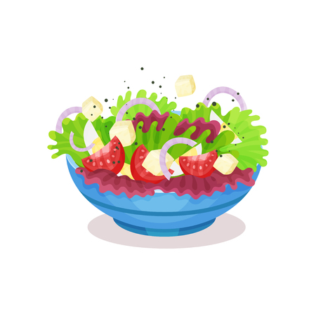 Bowl of vegetable salad with cheese, healthy eating concept vector Illustration on a white background