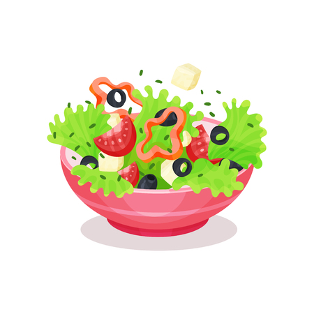 Bowl of Greek Salad, healthy eating concept vector Illustration on a white background Vettoriali