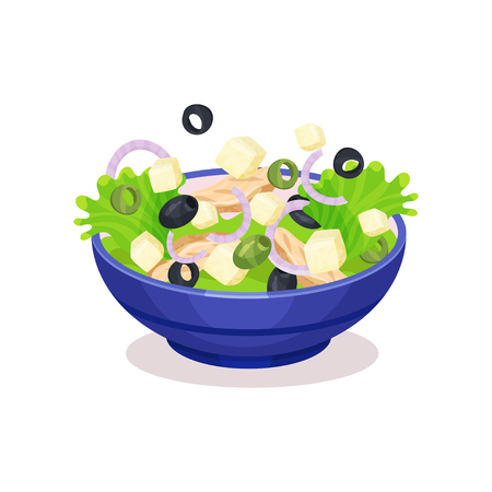 Bowl of mixed salad, healthy eating concept vector Illustration on a white background Illustration