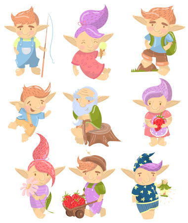 Cute troll characters set, funny creatures with colored hair in different situations cartoon vector Illustrations on a white background