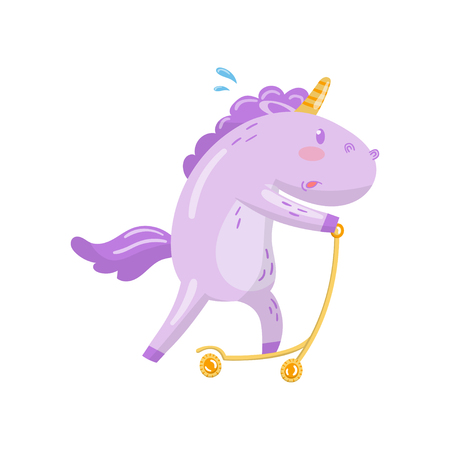 Cute unicorn character riding kick scooter, funny magical animal cartoon vector Illustration on a white background