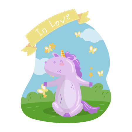 Cute unicorn character sitting on green lawn in summer day, In love vector Illustration in cartoon style, colorful design element for poster or banner.