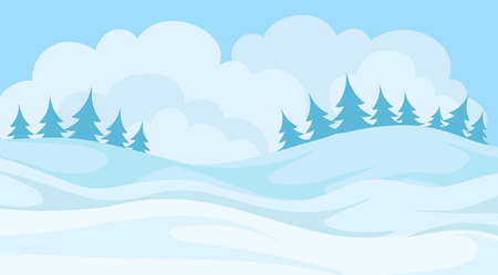 Day in winter forest, snowy landscape background with trees and hills vector Illustration.