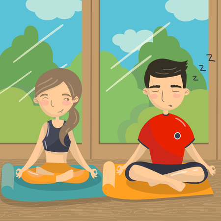 Man and woman sitting on the floor in lotus position, couple meditating in front of the window. Colorful vector illustration.