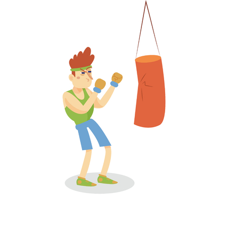 Boxer hitting a punching bag, man working out in fitness club or gym, active healthy lifestyle cartoon vector Illustration