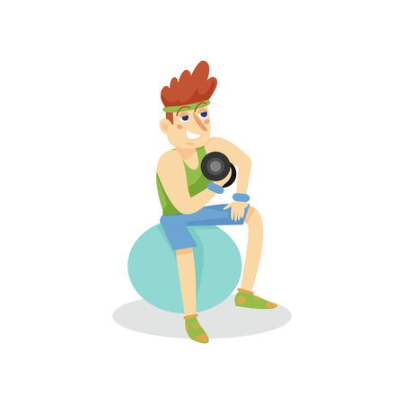 Young man exercising with dumbbells on a fitball, man working out in fitness club or gym, active healthy lifestyle cartoon vector Illustration on a white background