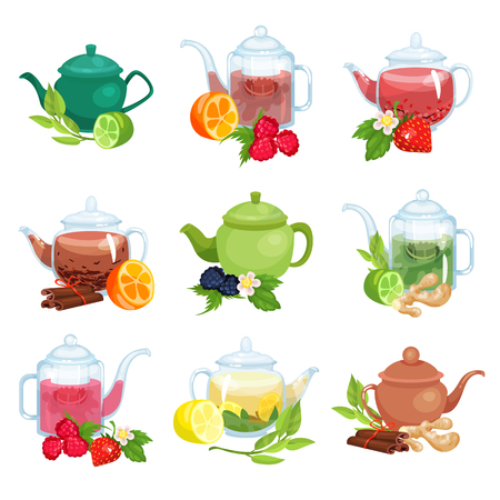 Glass and ceramic teapot set, natural herbal tea with fruits, berries and herbs vector Illustrations on a white background