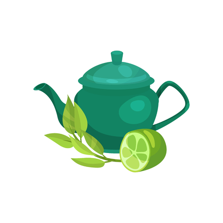 Green ceramic teapot, lime fruit and a sprig of jasmine, natural herbal tea vector Illustration on a white background
