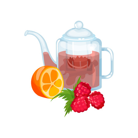 Natural herbal tea in a glass transparent teapot with fresh mint, orange friut and raspberry vector Illustration