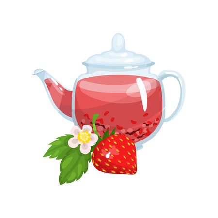 Natural herbal tea in a glass transparent teapot with fresh mint and strawberry vector Illustration Illustration