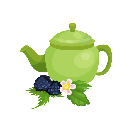 Green ceramic teapot, blackberry with leaves and blossom, natural herbal tea vector Illustration Illustration
