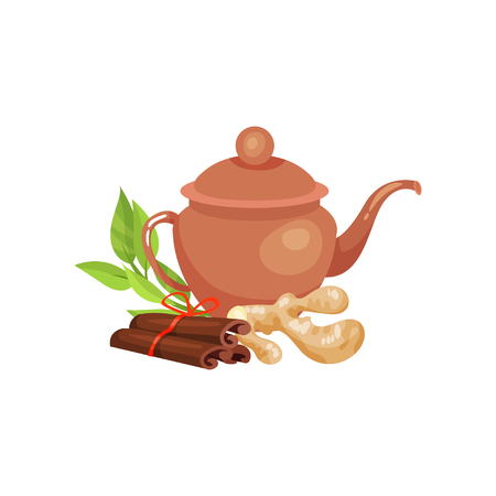 Ceramic teapot, blackberry and fresh lime and ginger, natural herbal tea vector Ilustration Illustration