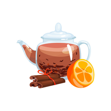 Natural green herbal tea in a glass transparent teapot with fresh orange friut and cinnamon vector Illustration