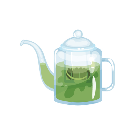 Natural green herbal tea in a glass transparent teapot with with aroma fresh herbs vector Illustration
