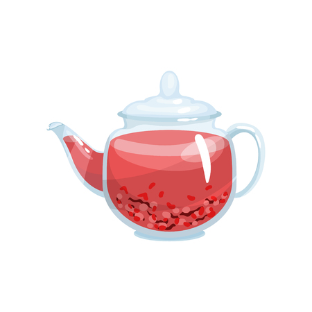 Natural herbal tea in a glass transparent teapot with aroma herbs vector Illustration Illustration