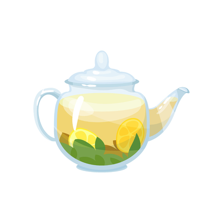 Natural herbal tea in a glass transparent teapot with lemon vector Illustration Illustration