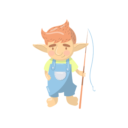 Cute troll boy character, funny creature standing with fishing rod cartoon vector Illustration Illustration