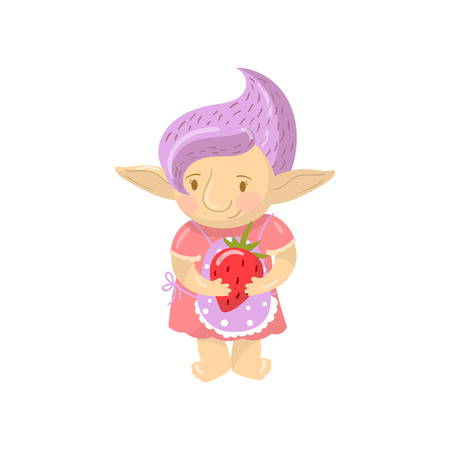 Cute troll girl character holding strawberry, funny creature with violet hair cartoon vector Illustration