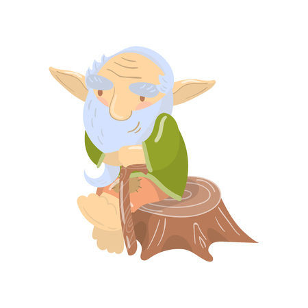 Cute old bearded troll character sitting on a stump, funny fairy tale creature cartoon vector Illustration