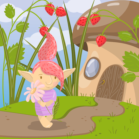 Cute troll girl character with chamomile flower standing on the background of fairy tale mushroom house vector illustration, cartoon style