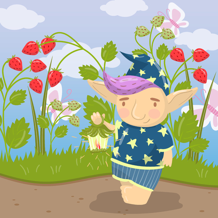 Cute troll character in blue pajamas standing and holding oil lantern on the background of field of strawberry vector illustration, cartoon style
