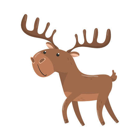 Brown deer with antlers woodland animal vector illustration