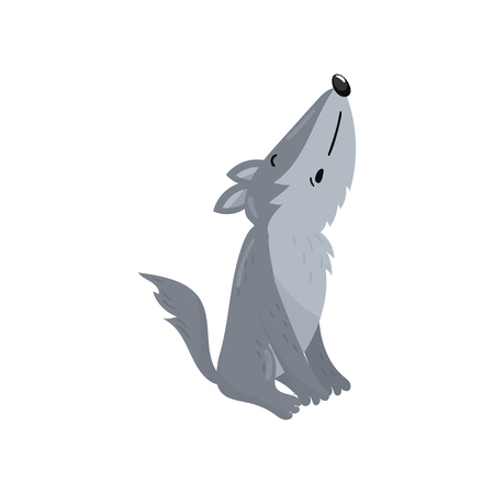 Cute wolf woodland howling cartoon animal vector Illustration on a white background