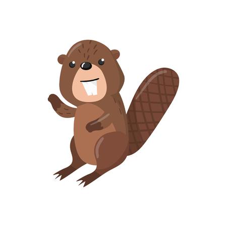 Cute beaver woodland cartoon animal vector Illustration on a white background Illustration
