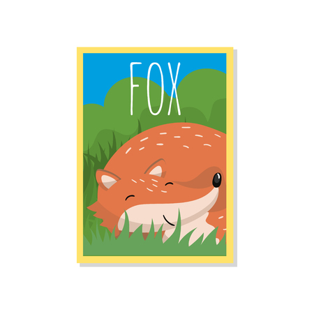 Cute red fox vector illustration with woodland animal, design element for banner, flyer, placard, greeting card, cartoon style