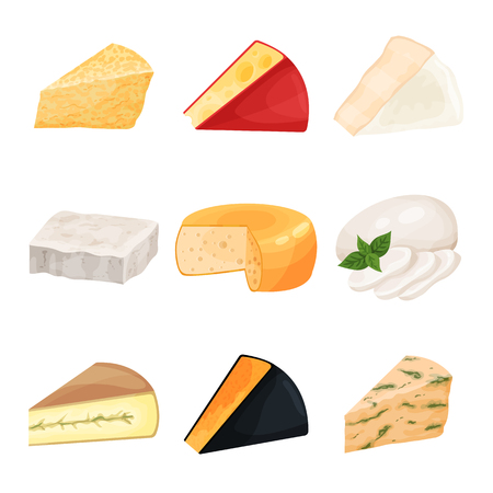 Set of various cheese, dairy products cartoon vector Illustrations Ilustração