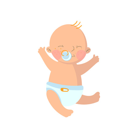 Sweet baby boy in diaper with pacifier cartoon vector Illustration Illustration