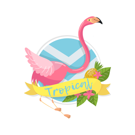 Tropical summer label, design element with palm leaves, flowers, pineapples and flamingo vector Illustration