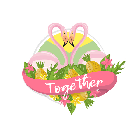 Together tropical summer label, design element with palm leaves, flowers, pineapples and flamingo couple vector Illustration isolated on a white background