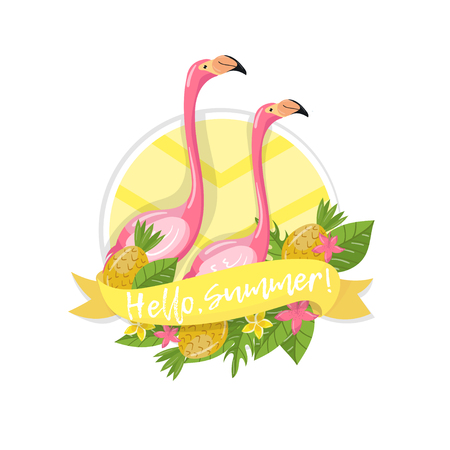 Hello summer label, design element with palm leaves, flowers, pineapples and flamingo couple vector Illustration