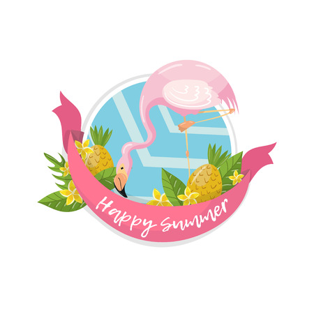 Happy summer label, design element with palm leaves, flowers, pineapples and flamingo vector illustration.