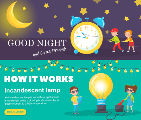 Set of horizontal banners, Good night and sweet dreams, How it works vector Illustrations elements for education design and web