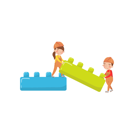 Cute boy and girl playing with building toy blocks, preschool activities and early childhood education cartoon vector illustration. Illustration